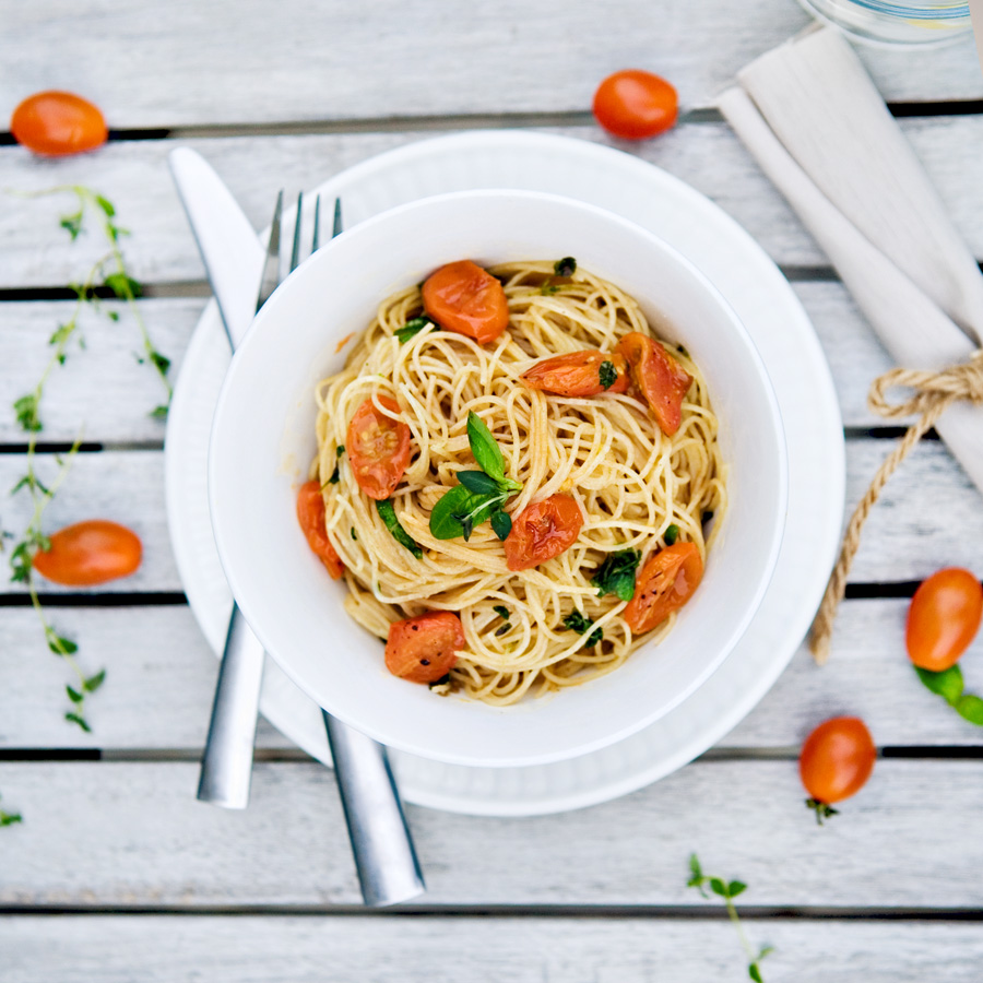 roasted tomato pasta vegan healthy easy grape