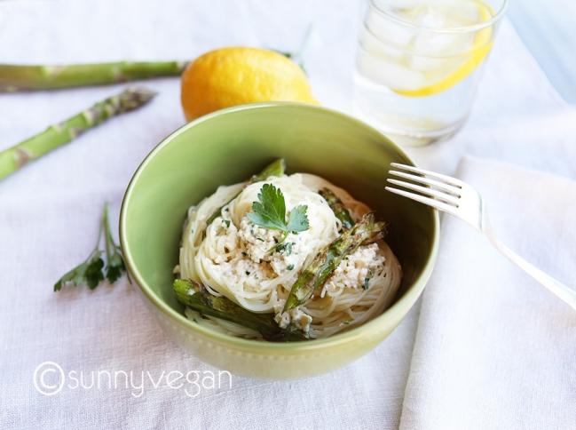 lemon asparagus tofu ricotta pasta for spring