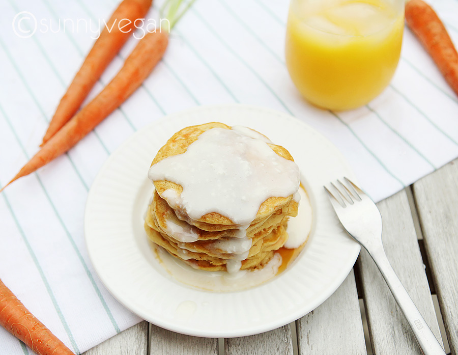 vegan carrot fluffy pancakes image and photo