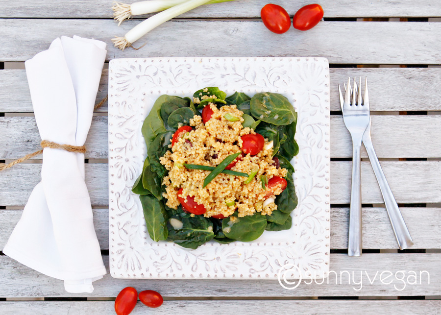 vegan couscous tomato lemon spinach