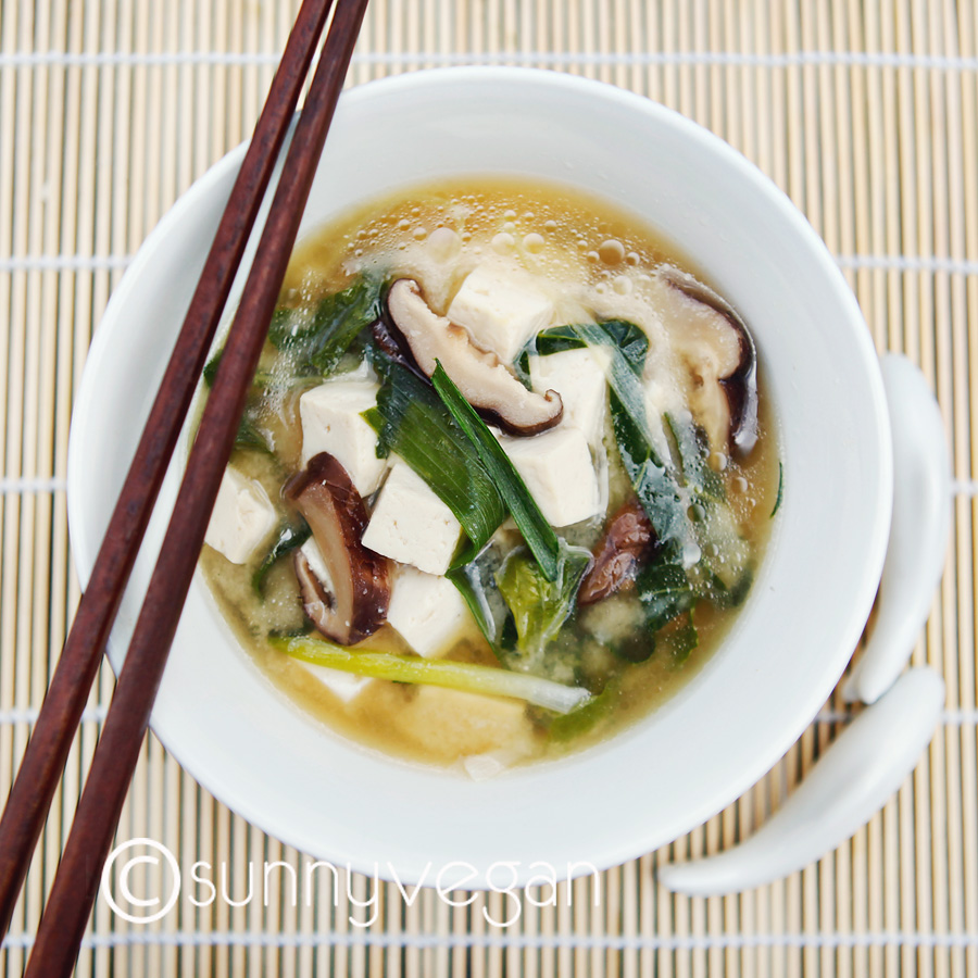miso soup vegan healthy image photo shiitake mushroom bok choy
