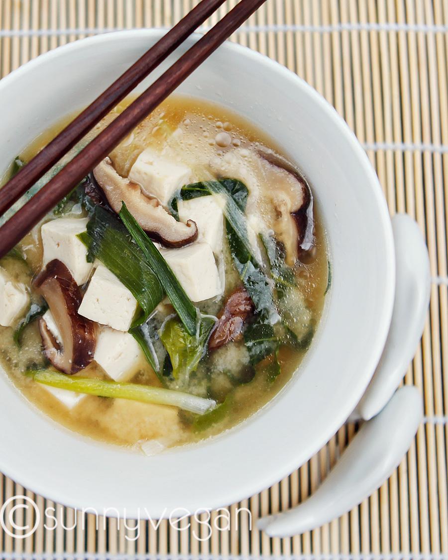image vegan miso soup shiitake mushroom tofu bok choy