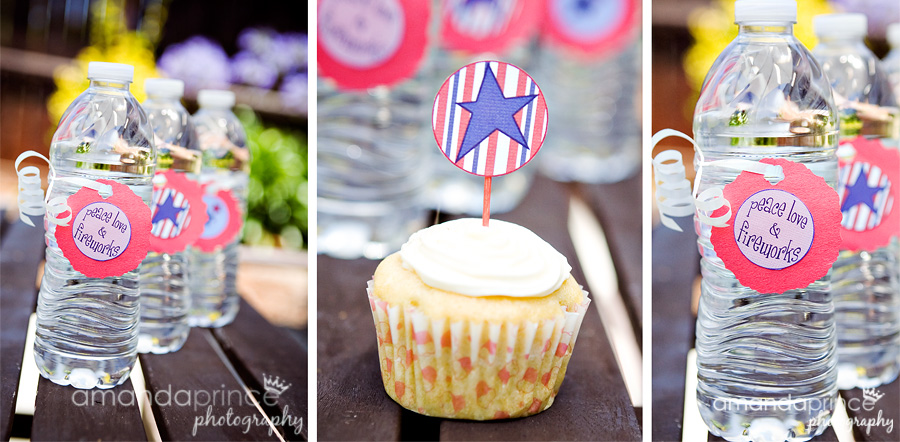 free 4th july patriotic red white blue printable cupcake table water bottle decor