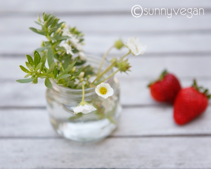 pretty strawberry strawberries blossom flower jar centerpiece