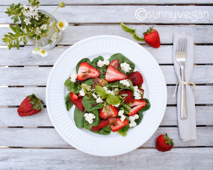 pretty strawberries salad spinach vegan vegetarian tofu baslamic basil