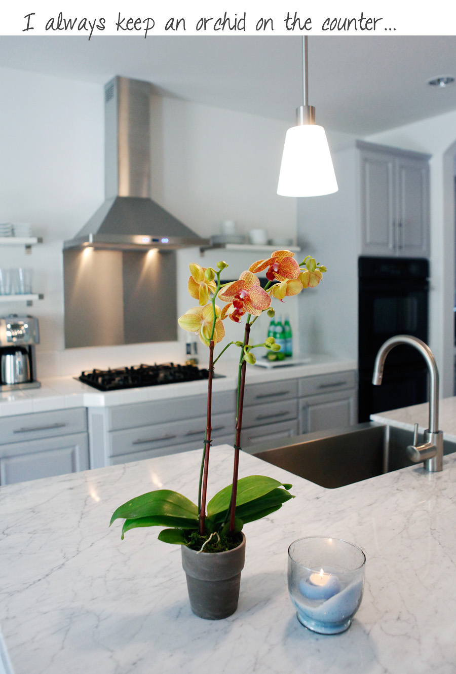 marble white gray cabinet kitchen diy with orchid