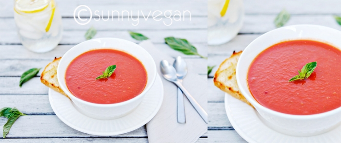easy healthy creamy vegan tomato soup with basil