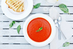easy healthy vegan creamy tomato soup recipe with basil