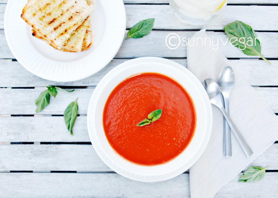 easy healthy vegan creamy tomato soup recipe with basil
