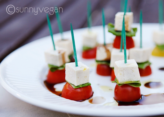 tofu heirloom tomato basil vegan caprese skewers