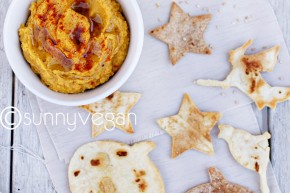 savory vegan pumpkin dip with baked tortilla chips