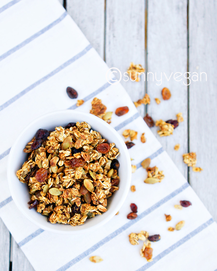 vegan vegetarian healthy pumpkin cranberry raisin granola recipe with image - sunny vegan