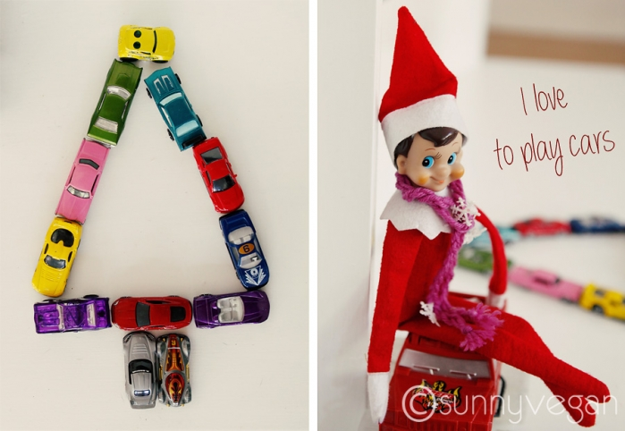 elf on the shelf ideas, with hot wheels cars as a tree
