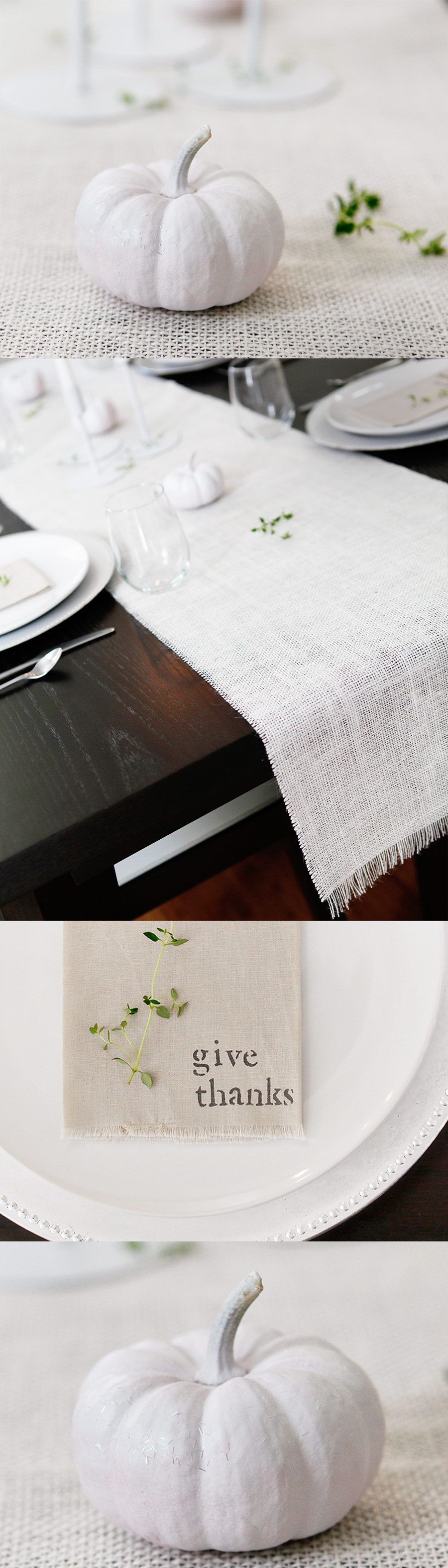 thanksgiving diy table runner napkins white pumpkins decor modern white brown