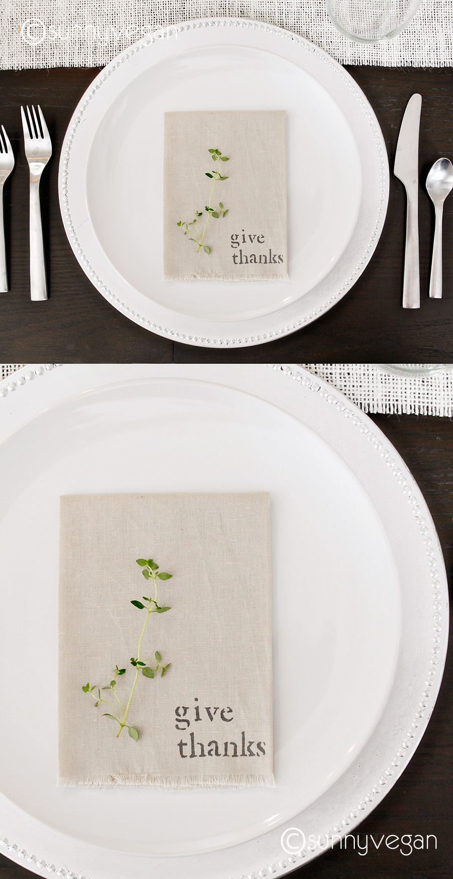 diy napkin table modern burlab runner sunny vegan