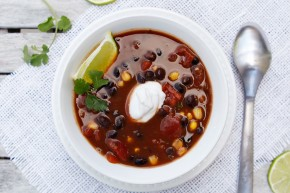 vegan tomato black bean soup with corn