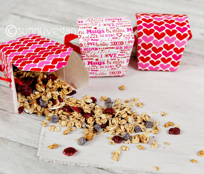 homemade granola for valentines day with chocolate and cranberries, healthy and vegan