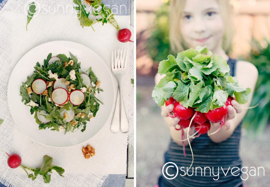 sunny vegan rocket and radish spring salad