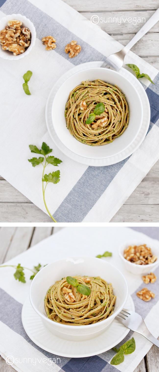 pea and walnut pesto linguine via sunny vegan