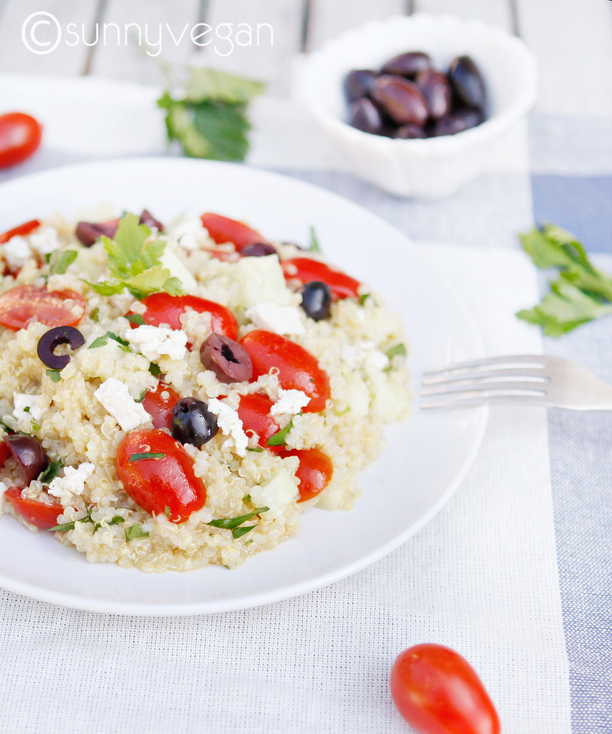 gluten free vegan greek quinoa salad by sunny vegan