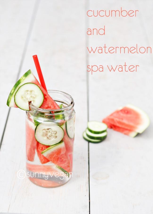 take 5 spa water recipe with watermelon and cucumber recipe via sunny vegan