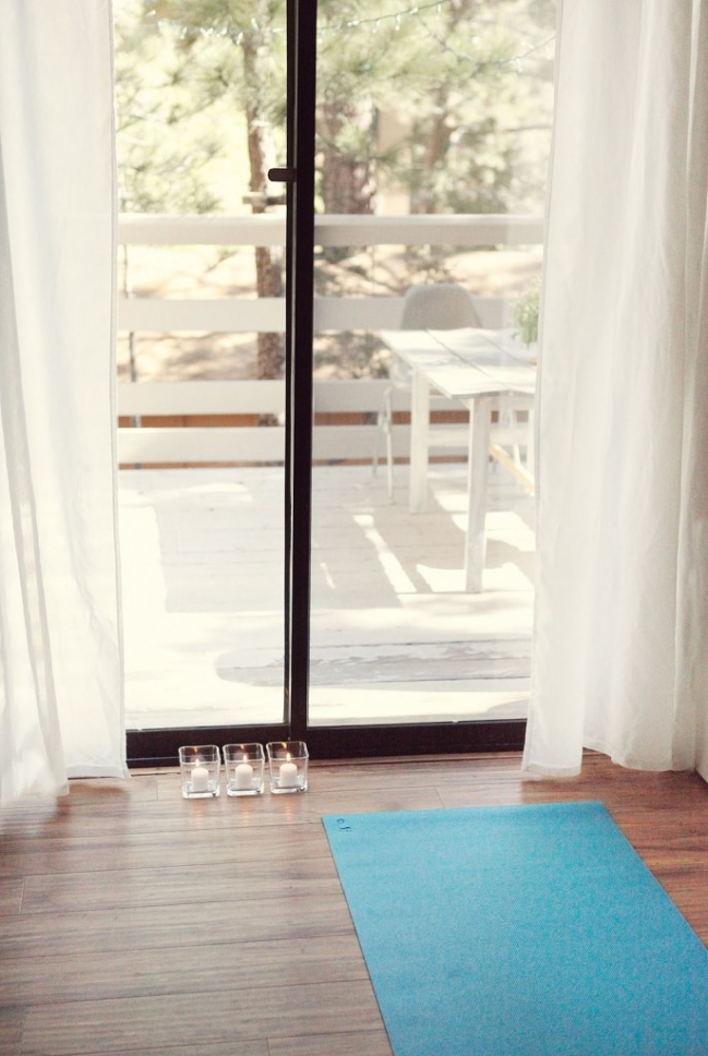 yoga space at home by window
