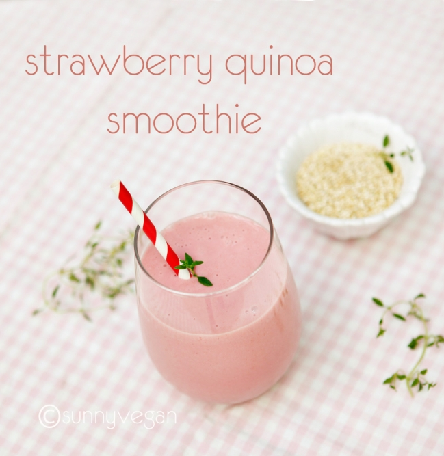 strawberry quinoa smoothie recipe from sunny vegan