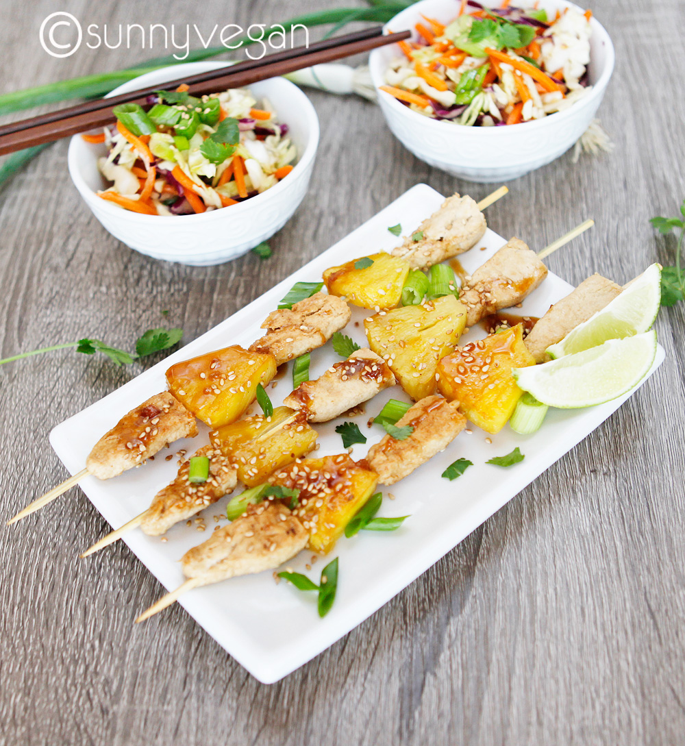 sunny vegan gardein grilled teriyaki chick'n and pineapple recipes with asian slaw