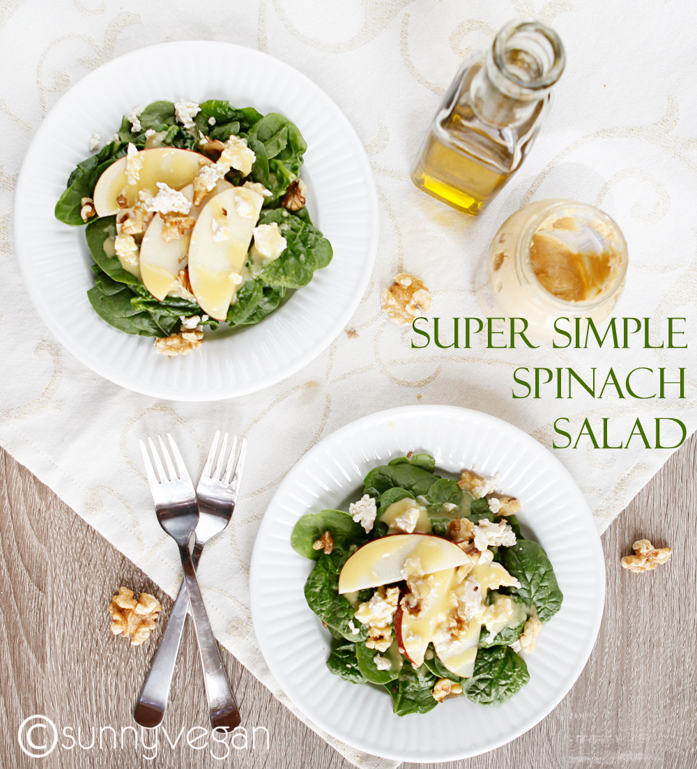 sunny vegan spinach salad with apples and walnuts   copy