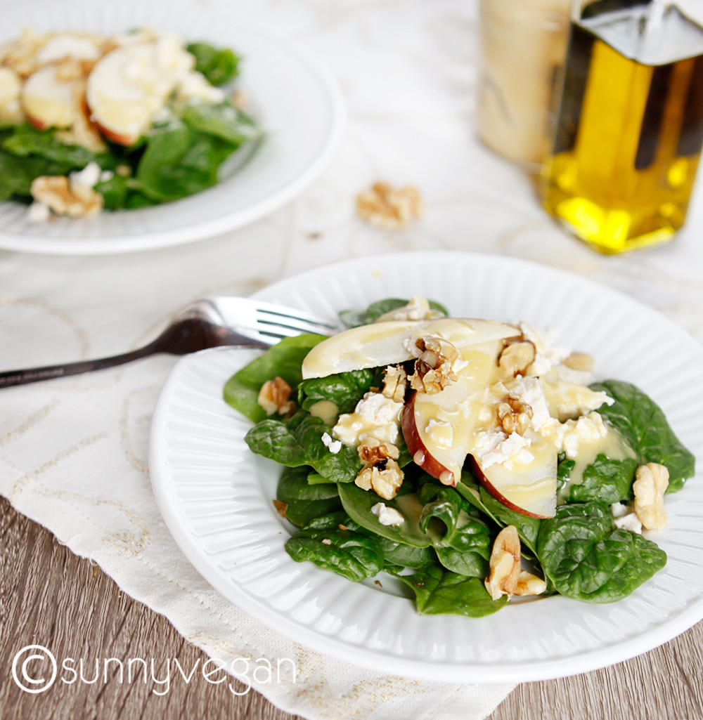 sunny vegan spinach salad with apples and walnuts recipe   #eatrightforyoursight