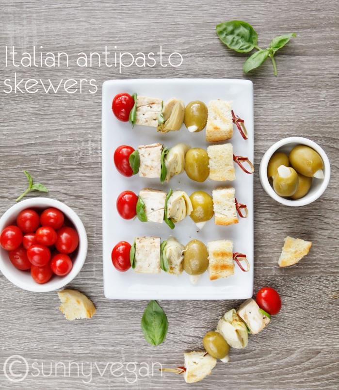 italian antipaso skewer recipe from sunny vegan