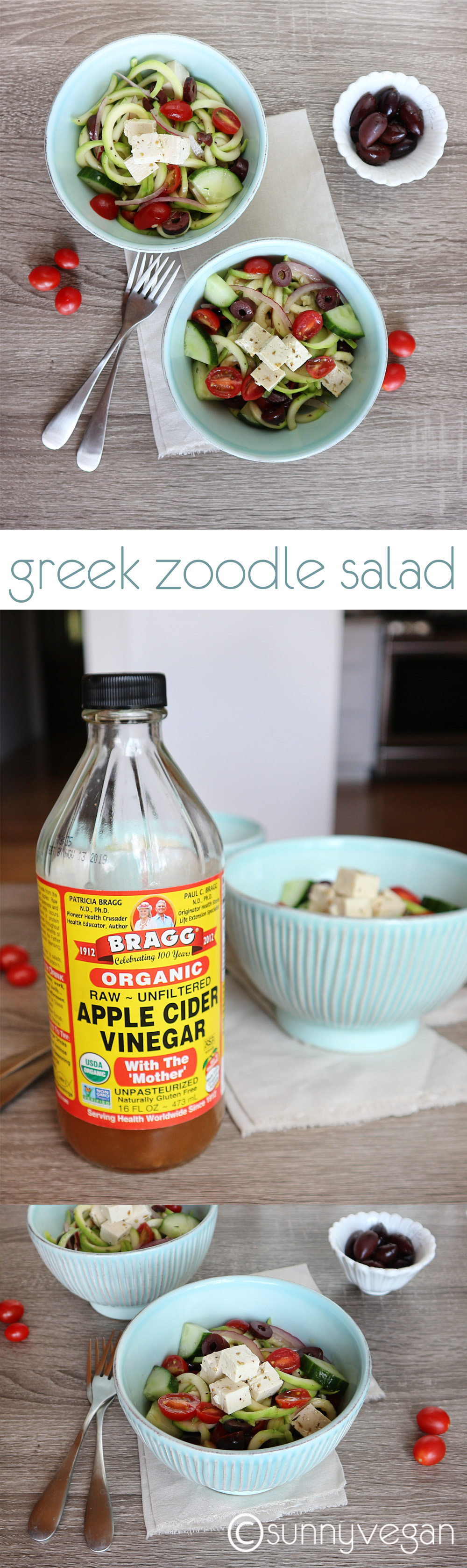 greek zoodle salad from sunny vegan