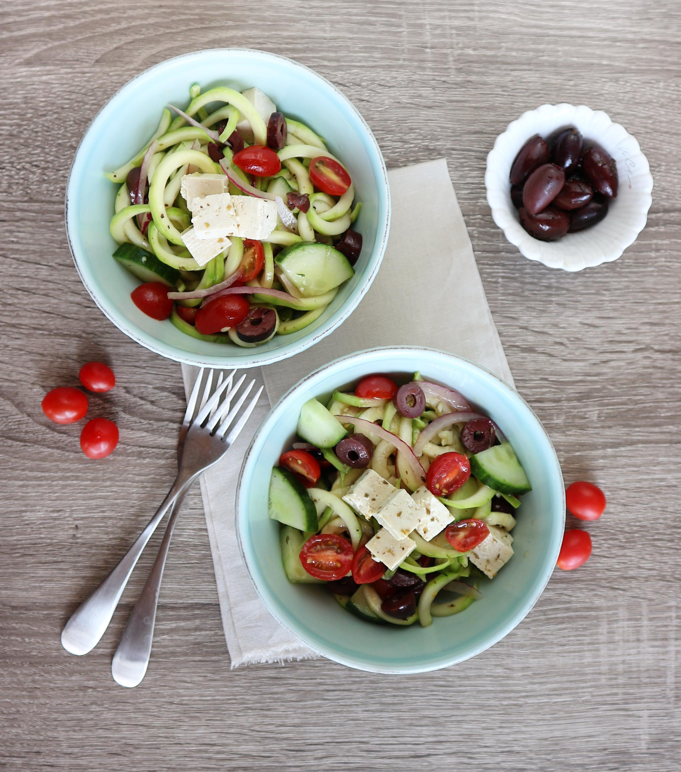 sunnyvegan greek zoodle salad